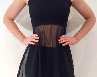 Yes vintage 1980s 1990s black sleeveless turtleneck sheer A-line dress