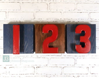 Kids Room Decor, Vintage Red Sign Numbers 1 2 3, Wall Hanging Boxes, Shelf Art, Set of 3, Navy Blue and Brown Stain Finish, Game Room Decor