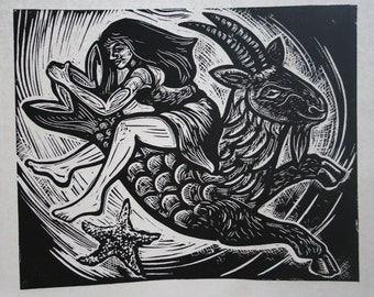 Astraea and Capricorn Linocut Print in Black and White