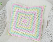 RESERVED Throw pillow cover, handmade crochet granny cushion case, made in Sweden, pastel home decor