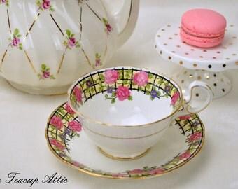 Aynsley China Teacup and Saucer Floral Trellis, English Fine Bone China Tea Cup Set, Garden Tea Party, Replacement China,  ca. 1926-1934