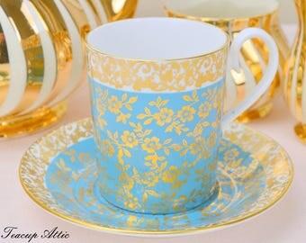 Royal Albert Gold Floral Chintz Teal Blue Kingston Can Shaped Demitasse Set, Vintage English Bone China Tea Cup Set, ca. 1970