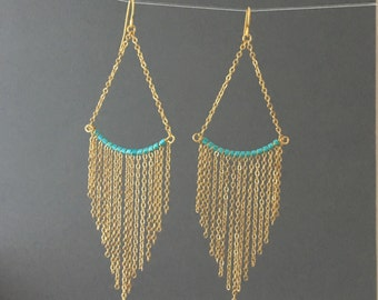 Gold Turquoise Beaded Fringe Chain Earrings