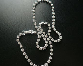 Vintage Art Deco Rhinestone Chain Necklace - 1930s Choker - Bridal Necklace - Wedding, Cocktail Party