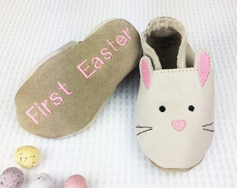 Easter Baby Gift - First Easter - Easter Bunny Shoes - Leather Baby Shoes - Easter gift for baby boy or girl - woodland bunny - keepsake