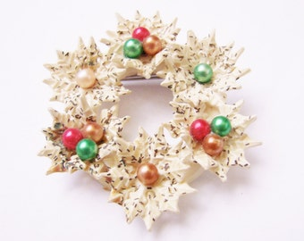 Wonderful Antique Carved Celluloid Lace Christmas Wreath Brooch Pin /  Red Green / Floral Holiday Brooch / Vintage Jewelry / Jewellery