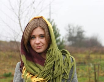 Infinity scarf - Cobweb felted Circle wool scarf - necklace / yellow olive green aubergine - Mothers day gift