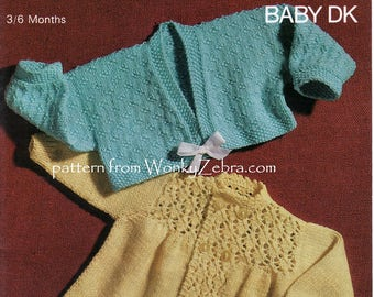 knitted baby jacket matinee jackets to knit for a baby boy or baby girl Vintage Knitting Pattern PDF B131 from WonkyZebra and WonkyZebraBaby