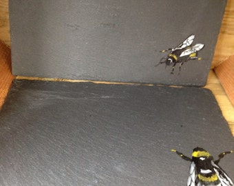 Bumble bee, slate, placemats, for bee lovers, tableware, bee placemats
