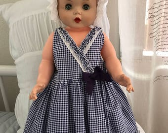 Vintage gingham baby girl's dress 6-9 mos.