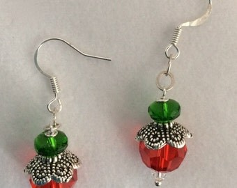 "Red Swarovski crystal, green Czech crystal with silver ""lacy cap"" Christmas earrings - Sale"
