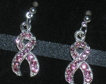 Pink Ribbon Breast Cancer Awareness Rhinestone Earrings with Surgical Steel Posts