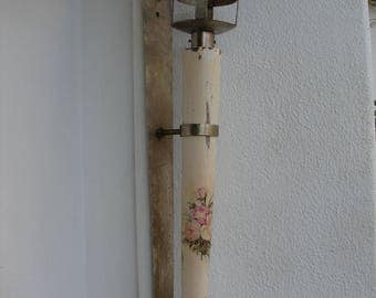 Vintage French,shabby chic,cream with roses,wood & iron,wall sconce,large,vintage,candle holder 30'' h.