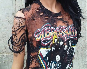 Aerosmith Shredded Band Shirt Bleach Shirt Rock N Roll Shirt Destroyed Ripped Tunic distressed shirt vintage