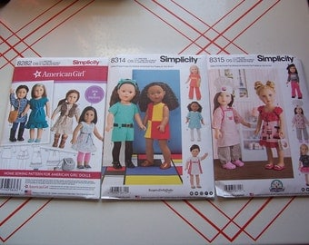 Simplicity 8282/8314/8315...American Girl Doll Pattern..18 Inch Doll Pattern..Cute New 2016/2017 Patterns..American Girl Clothing Patterns..