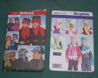 Family and Child's Fleece Hats and Mittens...Simplicity 4354 or Butterick 5787...Patterns for Hats, Scarves and Gloves...Uncut..