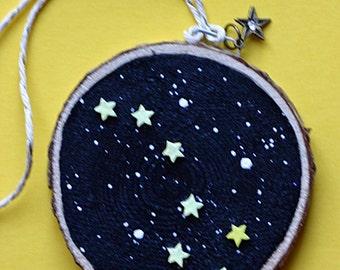 Big Dipper, stars, holiday, Christmas ornament, birch wood slice, art on wood, children's art, nursery art, night sky, astronomy