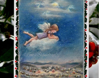 """Christmas greeting Card sets, Handmade Fun with Art Photo """"Your Guardian Angel """" by Laurie Shanholtzer"""