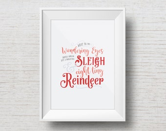 A Visit from St. Nick - Holiday Art Print - Instant Download