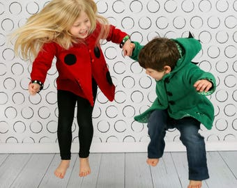 Children's Character Coats in Fleece, Wool or Lightweight Cotton Twill. Dinosaur, Ladybug, Bunny and many more. Wild & Woolly