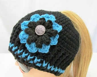Messy bun / ponytail hat , cap , hat with ponytail / bun hole on top , cap , beanie , womens hat , messy bun hat with flower and button