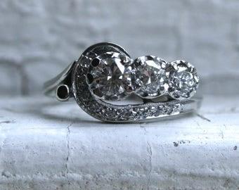 Swirly Vintage 14K White Gold Diamond Engagement Ring - 0.98ct.