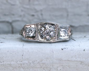 Vintage Filigree 18K White Gold Diamond Cluster Engagement Ring - 0.41ct.