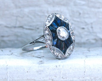 RESERVED - Antique Platinum Diamond and and Sapphire Cluster Ring Engagement Ring- 1.57ct.