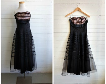 Vintage 1950s black prom dress, 50s strapless dress, vintage party dress, xs