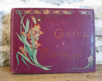 Art Nouveau postcard album with 56 cards, large French album cartes postales