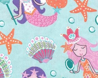 Snuggle Flannel Fabric - Pretty Mermaids - 30 inches