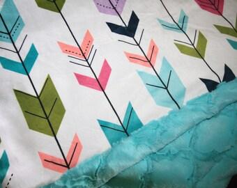Coral Arrows Baby Blanket, Girl Baby Blanket, Baby Girl MINKY Blanket, Minky Baby Blanket, Arrows Baby Blanket, Ready to Ship Baby Blanket