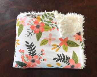 Floral Baby Girl Blanket. Baby MINKY Blanket, Faux Fur Baby Blanket, Personalized Baby Girl Blanket, Baby Bedding, Coral Flower Baby Blanket