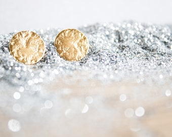 Full Moon textured Stud Earrings 18kt Gold Filled. Super Moon. Galaxy Jewelry