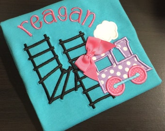 Train themed birthday shirt - Choo Choo, Thomas is Two! Embroidered First 1st 2nd 3rd 4th b-day Applique with train, number made from tracks