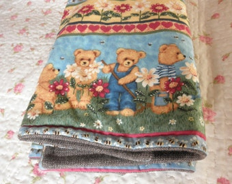 Baby blanket with teddy bears,soft warm ,double face baby blanket brown and green,padded baby blanket