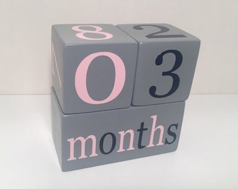 Baby Age Blocks, Wooden Milestone Blocks, Photo Prop, Gray Blocks with Light Pink and Navy or Custom Colors