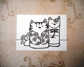 ACEO, Cats, Kitty,  March Madness, ATC, Art Trading Card, Original Drawing, Ink, Kid Friendly, Animals