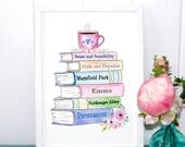 Jane Austen Print, Gifts for Book Lovers, Book Spine Of All Books, Pride and Prejudice, Persuasion, Emma UNFRAMED A4