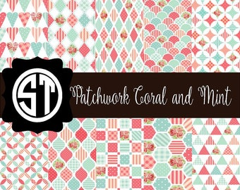 Patchwork Coral and Mint Patterns Vinyl (Indoor, Outdoor,  Glitter Vinyl, HTV iron on, Glitter Heat Transfer) Lamination available