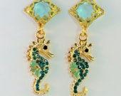 SALE! Teal and aqua enamel rhinestone seahorse charm earrings, gold filigree diamond dangles pale aqua crystals beach jewelry ocean seahorse