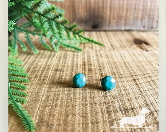 Mint Gem. Post Earrings -- (Vintage-Style, Seafoam Blue Green, Shabby Chic, Small Stud, Round, Modern, Faceted, Bridesmaid Gift Under 10)