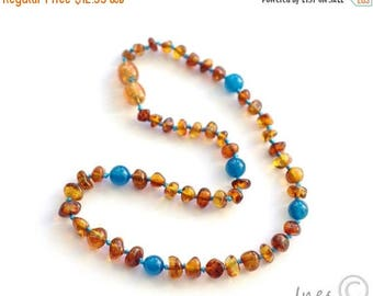 15% OFF Genuine Amber Baby Necklace, Baltic Amber Baby Teething Necklace, Boy Amber Necklace
