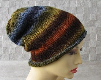 Hand Knitted men's hats, Multicolor Slouchy men's hat, Boho mens beanie, Trendy mens hat