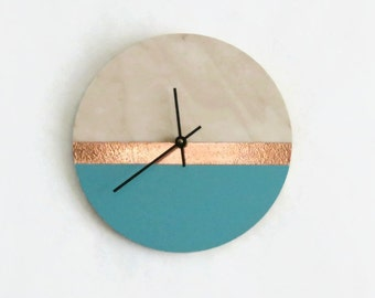 Wall Clock, Teal and Rose Gold Copper,  Birch Wood Clock, Housewares, Home and Living, Unique Wall Clock