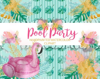 Pool Party Clipart, Summer Cliipart, Fashion Clipart, Planner Girl Clipart, Pool Clipart Pool Flamingo, Palm Leaf, Moet Glass, Fashion Girl