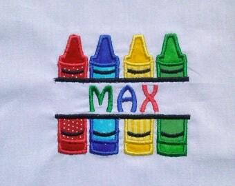 personalized crayon shirt/ crayon name shirt/ crayon monogram shirt/ art birthday shirt/ back to school shirt