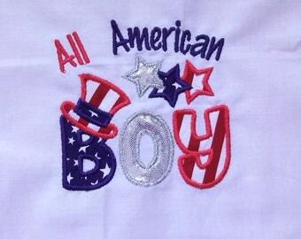 4th of July boys shirt/ Patriotic boys shirt/ Independence Day shirt/ stars and stripe shirt/ flag shirt/ All American Boy