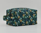 Floral/Flower Quilted Cosmetic Bag with Handle, Boxy Pouch; Shave Bag; Boxy Bag; Travel; Make-up Bag; Black, Teal, Aqua, Gold, Blue, Mint