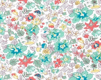 2017 Liberty tana lawn fabric,Aloha Betsy in turquoise, printed in Japan, floral fabric, 2017 sprint/summer collection, fat eighth